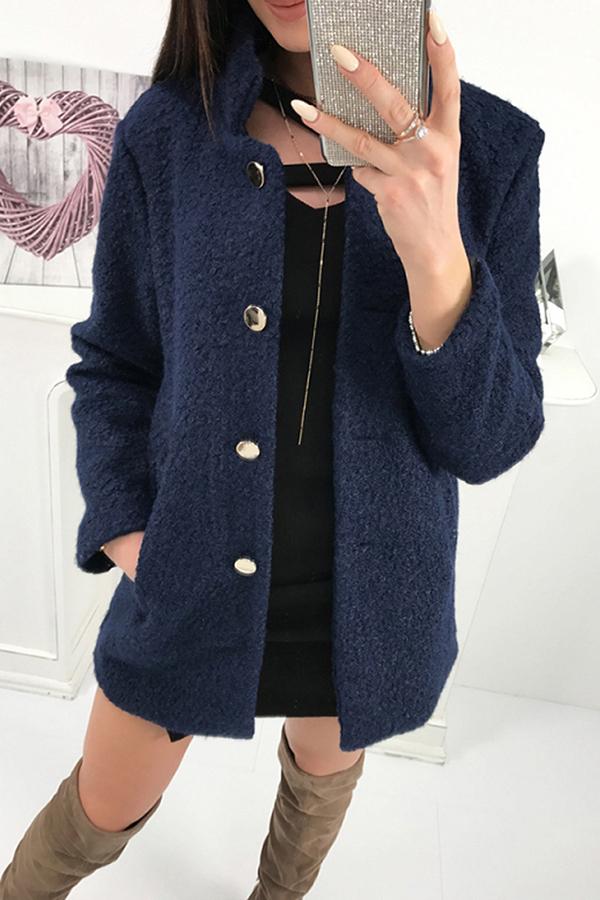 Lovely Sweet Buttons Decorative Deep Blue Cardigan Wool