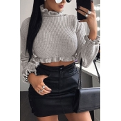 Lovely Sweet Flounce Design Short Grey Knitting Sw