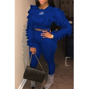 Lovely Casual Long Sleeves Flounce Blue Blending Two-piece Pants Set