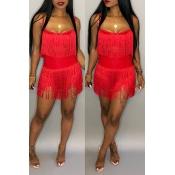 Lovely  Sexy Sleeveless Tassel Red Cotton Blends Two-Piece Skirt Set