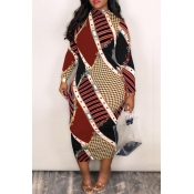 Lovely Casual Color-lump Patchwork Brown Blending Mid Calf Dress