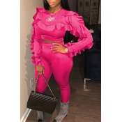 Lovely Casual Long Sleeves Flounce Pink Blending Two-piece Pants Set
