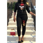 Lovely Casual Long Sleeves Bead Piece Embroidered Black Two-piece Pants Set