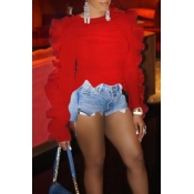 Lovely Sweet Flounce Design Red T-shirt