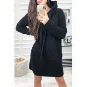 Lovely Trendy Hooded Collar Fitted Black Mini Dres