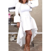 Lovely Casual Asymmetrical Flare Sleeves White Ankle Length Dress