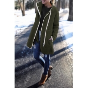 Lovely Patchwork Long Army Green Coat
