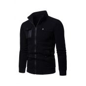 Lovely Casual Patchwork Black Cotton Cardigan Hoodies