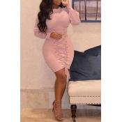 Lovely Sweet Bandage Design Pink Twilled Satin Mini Dress
