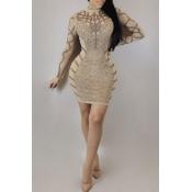 Lovely Euramerican Long Sleeves Printed Apricot Mini Dress
