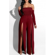 Lovely Casual Side High Slit Wine Red Knitting One