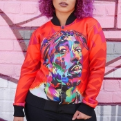 Lovely Casual Portrait Printed Red Jacket