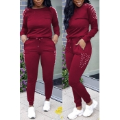 Lovely Euramerican Nail Bead Design Wine Red Two-piece Pants Set