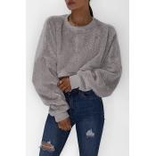 Lovely Euramerican Long Sleeves Loose Grey Hoodies