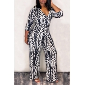 Lovely Casual Printed Loose White Knitting One-piece Jumpsuit