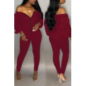 Lovely Trendy Dew Shoulder Skinny Wine Red Cotton One-piece Jumpsuit