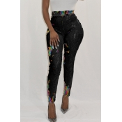Lovely Euramerican Sequined Decorative Skinny Black PU Pants