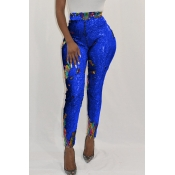 Lovely Euramerican Sequined Decorative Skinny Blue PU Pants