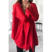 Lovely Euramerican Turn-down Collar Red Trench Coa
