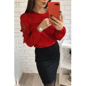 Lovely Euramerican Long Sleeves Patchwork Red Blou