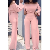 Lovely Casual Dew Shoulder Flounce Pink Twilled Sa