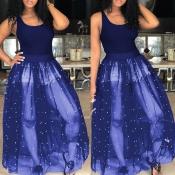Lovely Casual U Neck Nailed Pearl Patchwork Dark Blue Blending Ankle Length Dress
