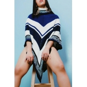 Lovely Trendy  Asymmetrical Blue Sweaters