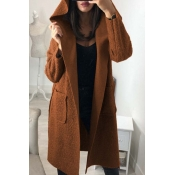 Lovely Trendy Long Sleeves Lace-up Brown Trench Co