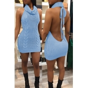 Lovely Sexy Backless Light Blue Sweater Mini Dress
