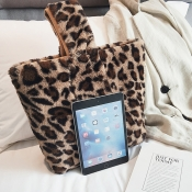 Lovely Fashion Leopard Printed Brown Plush Clutche