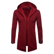 Lovely Casual Hooded Collar Wine Red Cardigan Hood
