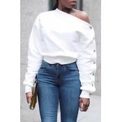 Lovely Trendy Long Sleeves White Sweatshirt Hoodie
