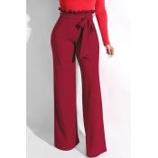 Lovely Trendy Ruffle Design Loose Wine Red Knittin