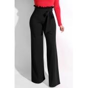 Lovely Trendy Ruffle Design Loose Black Knitting P