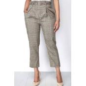 Lovely Euramerican Grids Printed Grey Pants