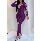 Lovely Casual Letters Printed Skinny Purple One-piece Jumpsuit