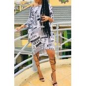 Lovely Euramerican Printed White Knee Length Dress