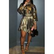 Lovely Euramerican  Lantern Sleeves Gold Mini Dres