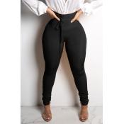 Lovely Euramerican Skinny Black Knitting Pants