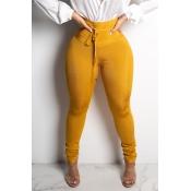 Lovely Euramerican Skinny Yellow Knitting Pants