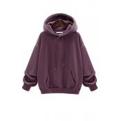 Lovely Casual Hooded Collar Drawstring Purple Cott
