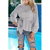 Lovely Temperament Striped Grey Blouses