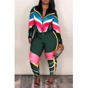 Lovely Sportswear Patchwork Deep Green Blending Two-piece Pants Set