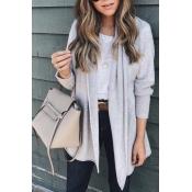 Lovely Euramerican Long Sleeves Grey Acrylic Cardi