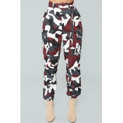 Lovely Trendy Camouflage Red Pants