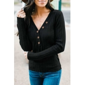 Lovely Casual Buttons Decorative Black Knitting Sw