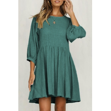 Lovely Casual Pleated Green Knee Length Dress