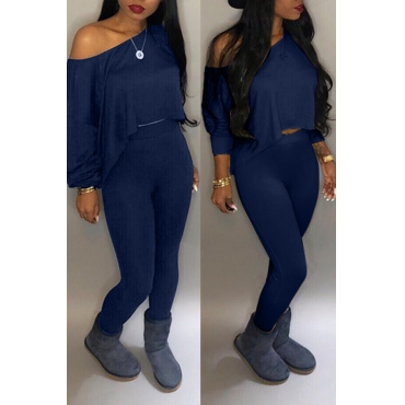 Lovely Casual Long Sleeves Navy Blue Two-piece Pants Set