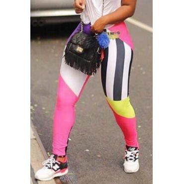 Lovely  Euramerican Patchwork Skinny Pink Pants