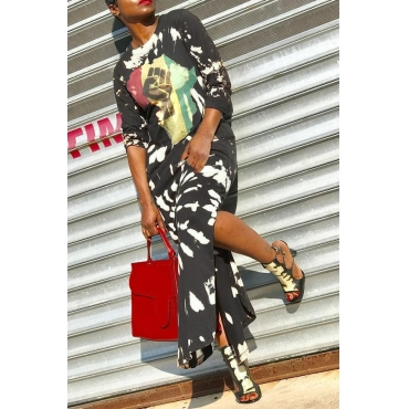 Lovely  Casual Long Sleeves Printed Black Ankle Length  Dress
